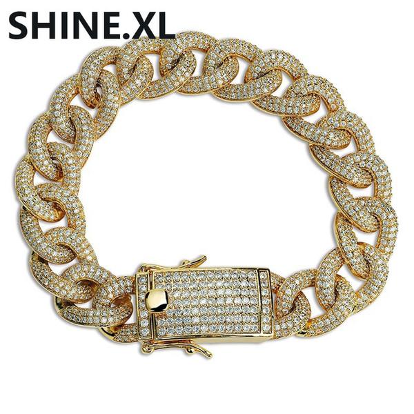 IANSISI Chaine Bracelet Cubaine Cubain Link Cha/înes Hommes Colliers Or Argent Couleur Hip Hop Iced Out Cristal Bling Strass Collier Bracelet 8 Pouces Bracelet en Argent