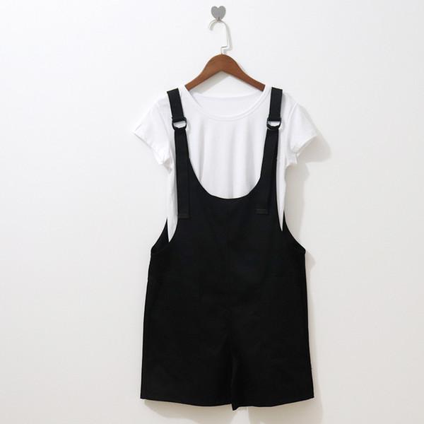 College Wind T-shirt Bib Suit Short-sleeved T-shirt + Pocket Design Strap Wide Leg One-piece Shorts Suit Female Summer 2019