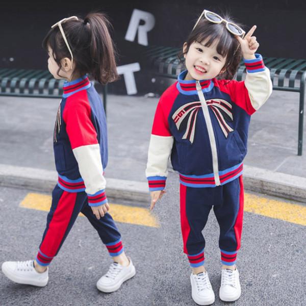 2019 springAutumn Kids Cute Bow Kleidung Set Mädchen Jungen Kinder Trainingsanzug Kinder Kleidung Langarm Mantel + Hose Kleidung Set