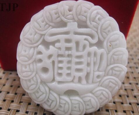 natural carved china wealth white mysterious lucky jade pendant with certificate together