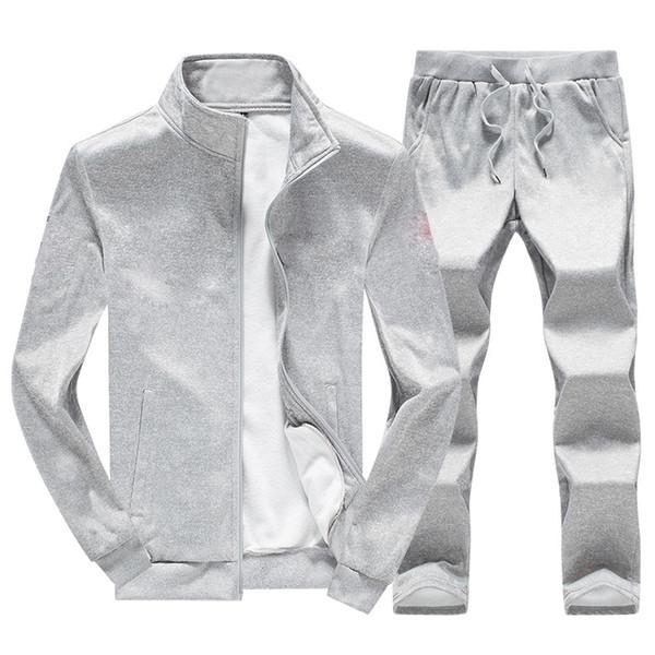 Homens Conjunto de Treino Com Zíper Hoodies Jaqueta Manga Longa Outwear Preto Cinza Marinho Dois pcs Set Treino Plus Size M-4XL