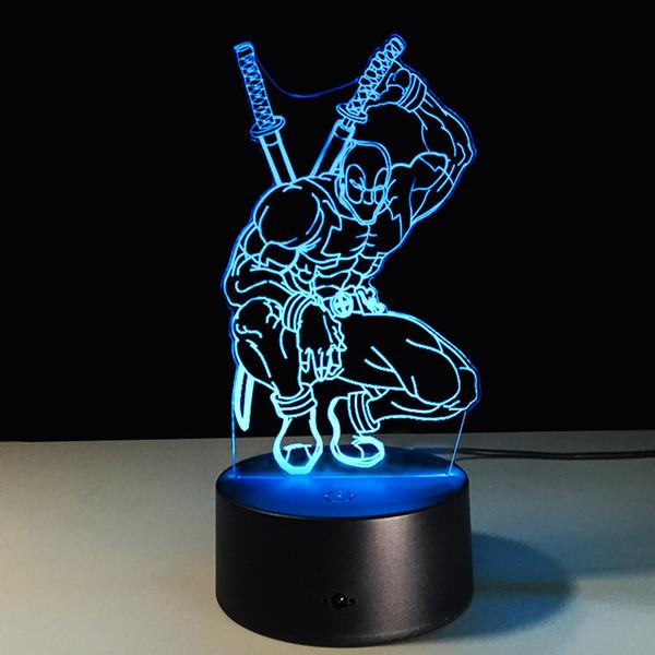 Chambre Partie De Night Table 3d D'enfants Illusion D'optique Deadpool D'anniversaire Desk Lampe Maison Cadeau Acheter Décoration Squat Thème OPukiZX