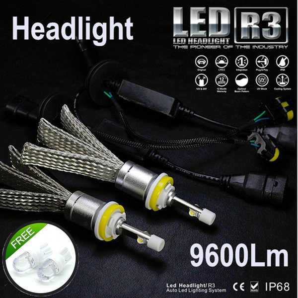 R3 fanless 9600lm Car LED Headlight XHP50 Kit H1 H3 H4 H7 H9 H11 H13 9005 HB3 9006 HB4 Automobiles Headlamp Lamps White Canbus