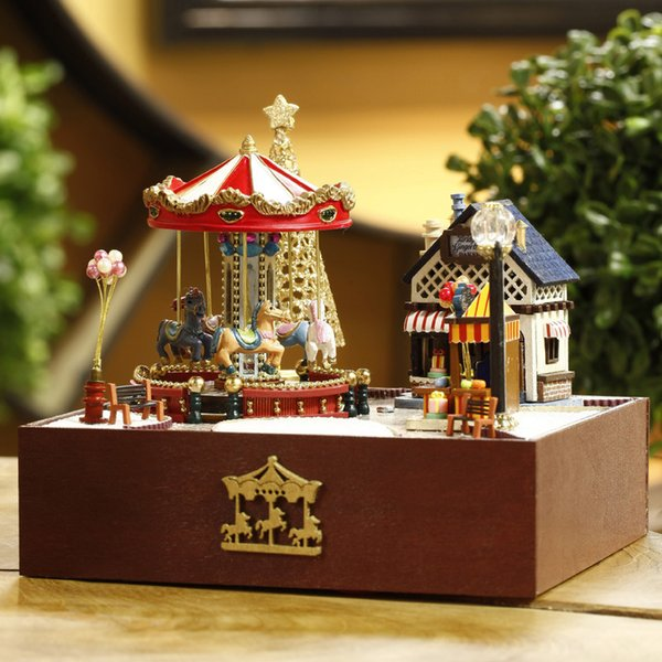 Maison de bricolage carrousel de parc d'attractions Miniature assemblé modèle de construction cadeau de vacances jouets pour enfants en bois miniature maison de poupée bricolage