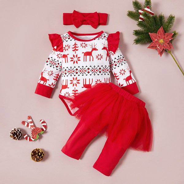 Christmas Outfits Set Infant Baby Girls First Christmas Long Sleeve Romper Pleated Tutu Skirt