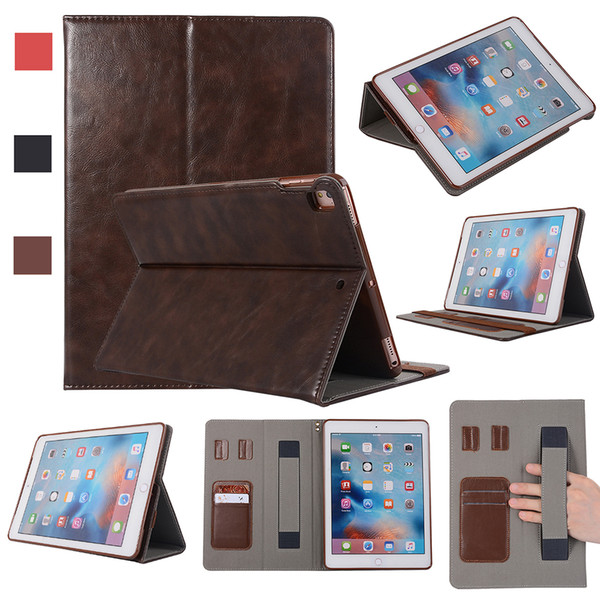 Half Genuine Leather Tablet Case for iPad 5 6 Air Air2 pro 10.5 Shockproof PU Leather Tablet Cover Case