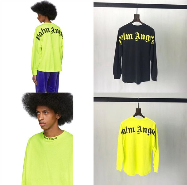 T-shirt manches longues Palm Angels Vert fluorescent Lettre Oversize Palm Angels Top T-shirts Hommes Femmes 2019 T-shirts Palm Angels