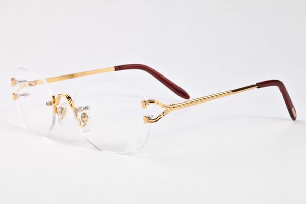 Großhandel-Marke Sonnenbrille für Männer 2017 unisex Büffelhorn Brille Männer Frauen randlose Sonnenbrille Silber Gold Metallrahmen Brillen Lünetten