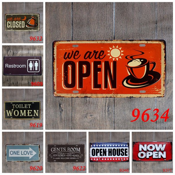 15x30 Cm Vintage License Plates Direction Signs Toilet Retro Iron Painting Wall Sticker Number Plate Metal Craft DECOR