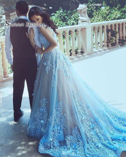 Appliques 3D Floral Arabes Femmes Robes De Soirée Formelles Ciel Bleu Tulle Robe De Bal En Dentelle Perle 2019 Belle Robe De Bal Robe De Concours Plus La Taille