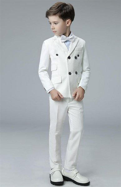 2 Piece Boy Suits for Wedding Prom Party Tuxedo Double Breasted Peaked Lapel Ivory Kids Suit Graduation Ceremony Jacket Pants