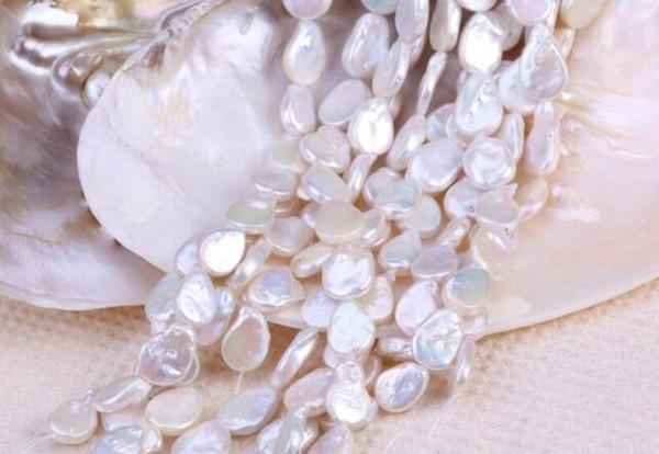 ENVÍO GRATIS Semi fabricado, 12 * 16 mm, collar de perlas de gota de agua dulce y puntos de venta al por mayor. talón