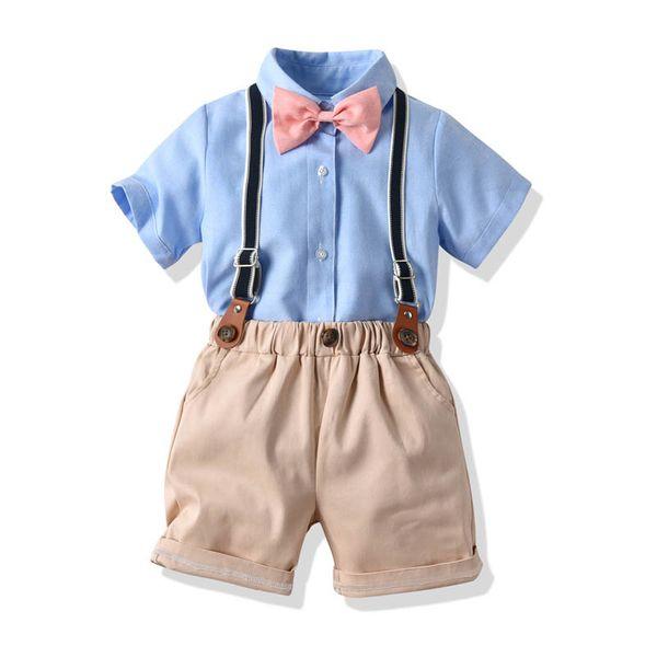 kids designer clothes boys suits kids sets boys summer outfit bow tie shirt+ suspender shorts 2pcs boys clothing sets boy clothes A6142