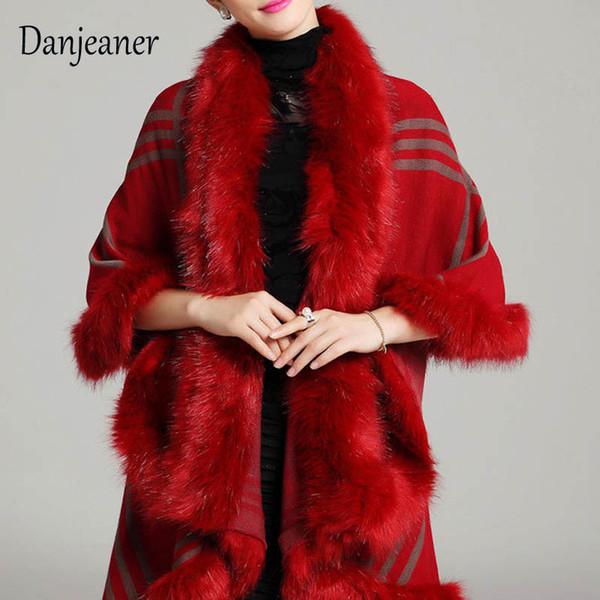 Danjeaner Autumn Winter Women's Plaid Wool Fur Shawl Jacket Vintage Thick Warm Knitted Cardigan Cloak Coat Winter Clothes