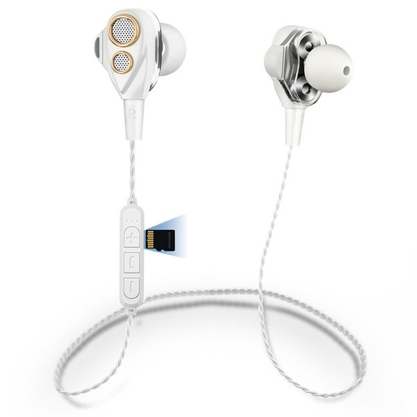 Four speaker mobile phone Bluetooth headset Double moving coil subwoofer wireless sports earplugs TF card stereo Bluetooth headset