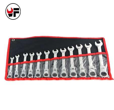 YOFE 12Pcs 8-19mm Reversible Ratchet Wrench Tools For Car Gear Spanners Flexible Head Wrench Set Universal Keys Torque Wrench