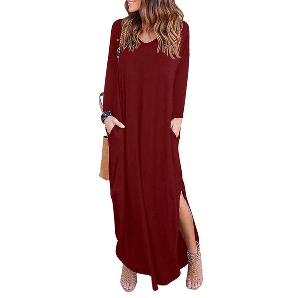 Women's Dress 2019 New To Spring and Autumn Women's Long-sleeved V-neck Loose Long-sleeved Split Dress Long Skirt Size S-XL