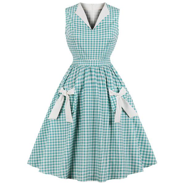 Hepburn Vintage Elbise Kadınlar Yeşil Ekose Onay Baskı Ilmek Cepler Pin Up Vestidos Yaz A-Line Parti Elbiseler Artı Boyutu