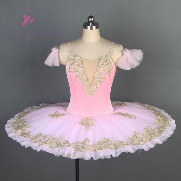Vorberufliches Ballett-Tutu Schwarzes Samt-Oberteil mit rotem steifem Tüll Rosa Ballett-Tutu-Tanzkostümpfannkuchen
