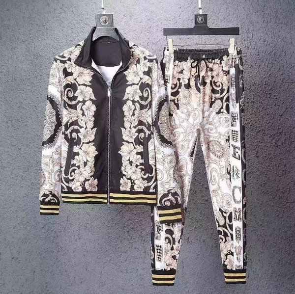 2019 spring and fall mens high quality Colorful flowers medusa color print tracksuits ~ tops mens training jogging sweat track suits