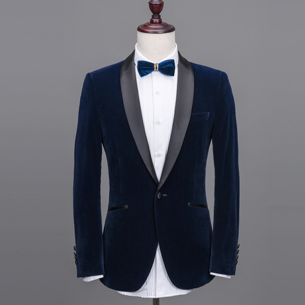 Mens Suits Shawl Collar 2 Pieces Slim Fit Blue Burgundy Black Green Suit Mens Velvet Tuxedo Jacket For Wedding(Blazer+Pants+Tie)