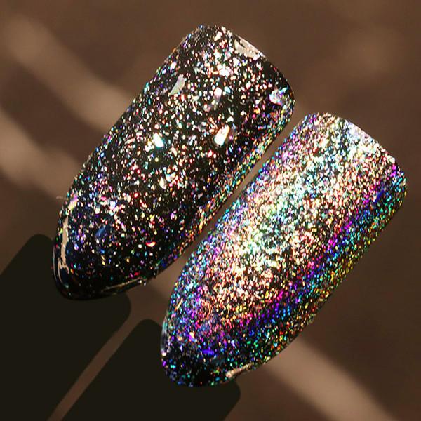 Alto brilho brilhante 0.5g / caixa Galaxy Holo Prego Flocos de Bling Do Arco Do Arco Do Laser Da Arte Do Prego Lantejoulas Holographic Glitter Pó Paillettes