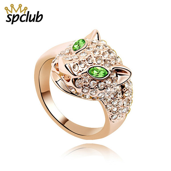 Charm Fashion Crystals from Swarovski Leopard Rings For Women Gold Color Metals Punk Rock Party Ring Vintage Animal Jewelry