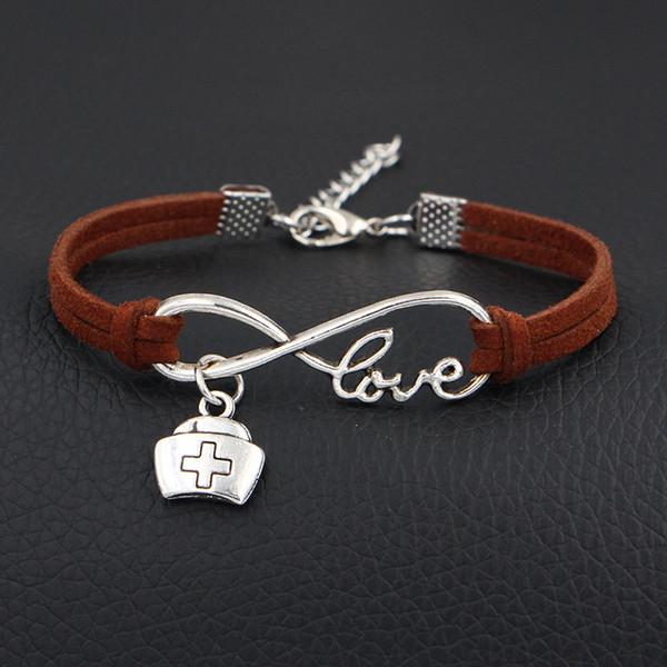 New Fashion Weave Vintage Cuff Brown Leather Infinity Love Medicine Box Cross Charm Male Men Bracelets Women Men Female Jewelry Accessories