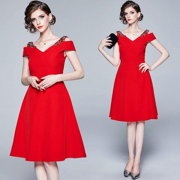 Модное вечернее платье для женщин без бретелек с короткими рукавами и блестками из бисера Высококачественное бутиковое платье Темпераментные платья для девочек