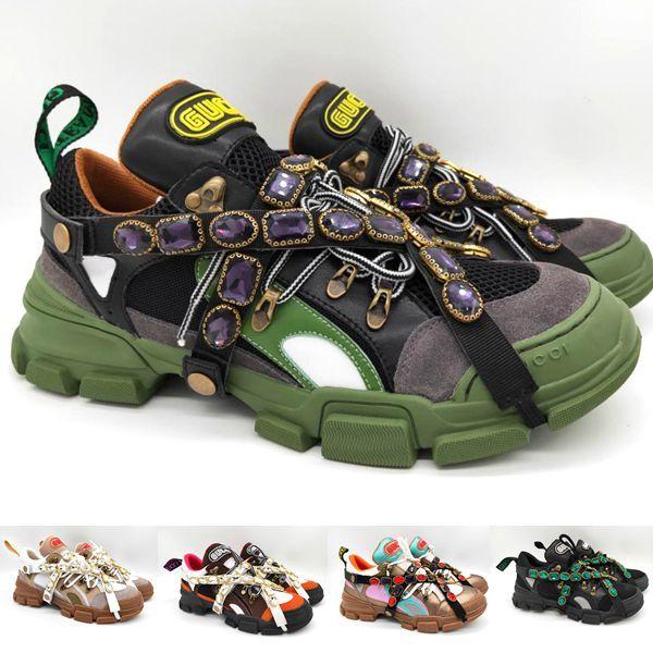 0280cc8494f Gucci men Sneaker Zapatilla de deporte de Flashtrek con cristales  extraíbles Zapatos de diseñador casual de