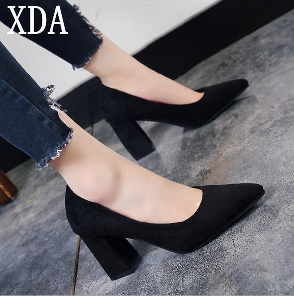 Designer Dress Shoes Xda 2019 New Style Fashion Womens Pumps Summer Korean High Heels Party Sexy Pointed Toe Casual Lady Single A377