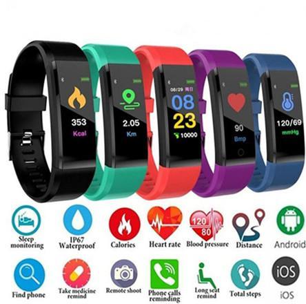 KIMLIĞI 115 ARTı Akıllı İzle Kalp Hızı Monitörü Kan Basıncı Spor Izci ios android akıllı bilezik için Smartwatch Spor Izle