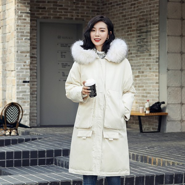 winter newest hooded duck down jacket with big fur collar loose fashion popular long women coats Korean style lady white jackets DT191029