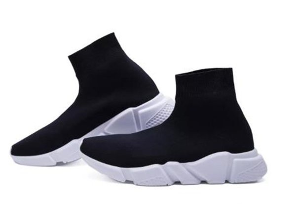 2019 Best Quality Speed Trainer Black Designer Sneakers Men Women Black Red Casual Shoes Fashion Socks Sneaker Top Boots Size 36-45