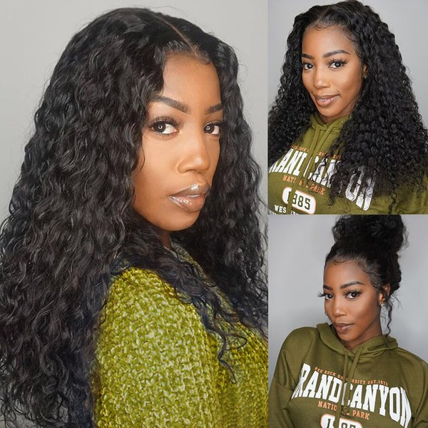 360 Lace Frontal Wig curly Wave Remy Lace Front Human Hair Wigs For Black Women Brazilian Wig Ponytail Swiss Lace Wig 130%
