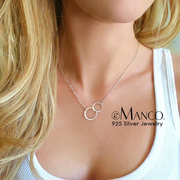Cheap Pendants e-Manco Double Circle Interlock Clavicle Short Necklace 925 Sterling Silver Necklace For Women Bohemian Infinity Necklaces