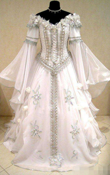 Medieval Wedding Dress Witch Celtic Tudor Renaissance Costume Victorian Gothic Handfasting Off The Shoulder Long Sleeve Detail Wedding Gown