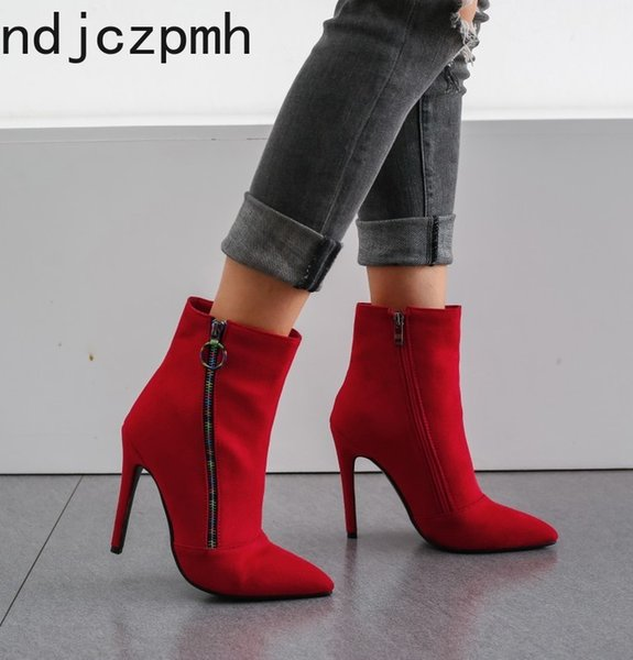 Women's Boots The New Autumn And Winter fashion Color matching Pointed zipper High heel Short tube Women's shoes plus size 34-43
