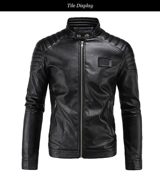 Bahar Deri ceketler Erkekler Siyah Biker Ceket Erkekler Yorgancılık Omuz Rivets Rozet Yama Vintage Motosiklet Ceketler M-5XL