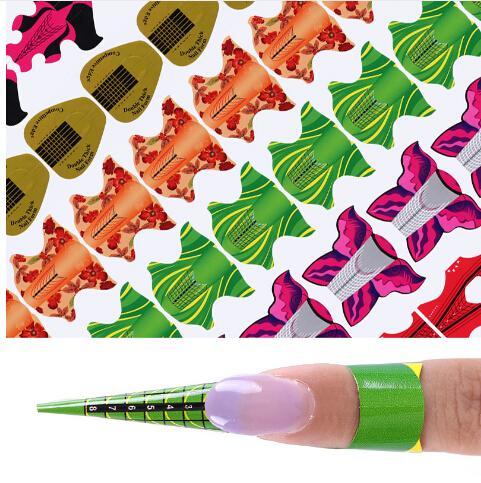 100 Adet / rulo Yapıştırıcı Tırnak Formu UV Jel Tırnak Uzatma Çiçek uçurtma Oval Kare Şekli Nail Art Aracı DIY İpuçları Manikür Kitleri