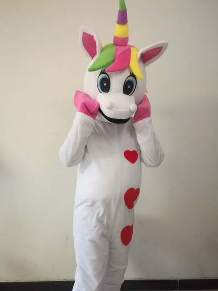 Factory Outlet Unicorn Mascot Costume pony mascotte costume Arcobaleno pony costume in maschera per adulti Halloween Purim partito