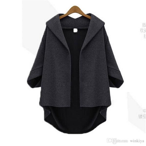 Ms. Temperamento Solto Bat Sleeve Outono Para Baixo Casaco Mulheres Plus Size Inverno Estilo Europeu Mangas De Lã A726