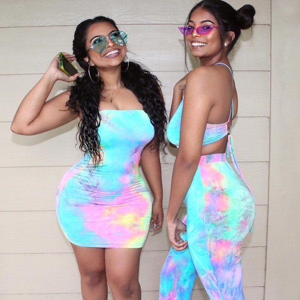 top popular Womens Summer Spaghetti straps tie dye print Dress Pants Sets sexy sling camis Colorful Print partyclub holiday Mini Short 2 piece Skirt Set 2021