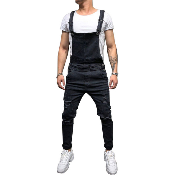 Fashion 2019 Men's Ripped Jeans Jumpsuits Hi Street Distressed Denim Bib Overalls For Man Suspender Pants Size S-XXXL