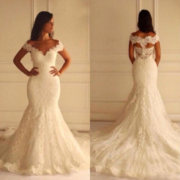 Full Lace Mermaid Wedding Gowns Off The Shoulder Cap Sleeves Appliques Formal Plus Size Wedding Dresses Court Train Bridal Gowns 59