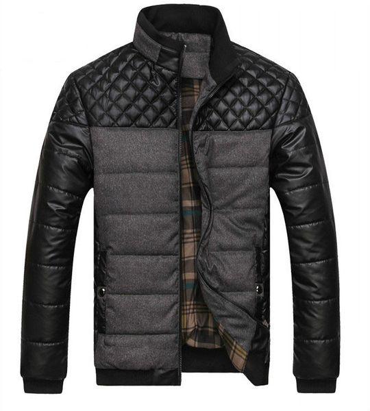 Dropshipping NEUE Winter Frühling dicke Herren Jacken und Mäntel PU Patchwork Designer Mode Herren Jacken Baumwolle Oberbekleidung