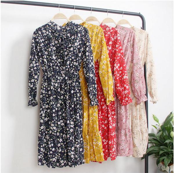 2019 spring and summer explosion models fashion new women's skirt Korean long-sleeved dress chiffon floral skirt