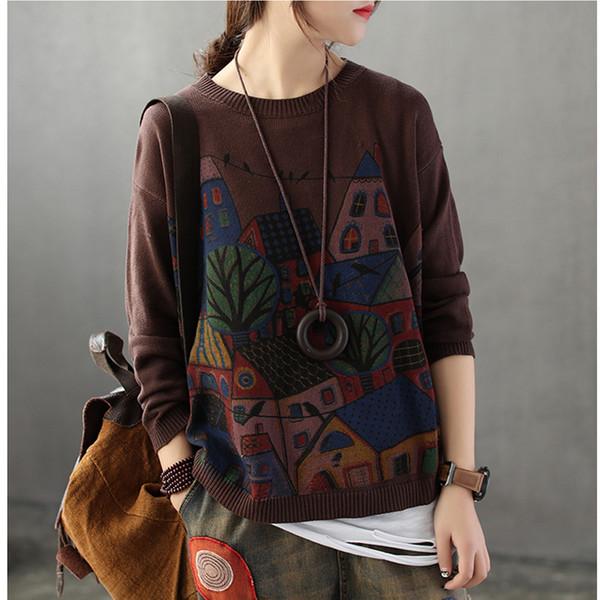 레트로 패치 워크 느슨한 만화 인쇄 여성 스웨터 스웨터 가을 겨울 긴 소매 풀 팜므 솔리드 풀오버 여성 ABz40