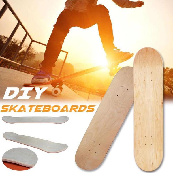 Skateboard doppio concavo in acero bianco a 8 strati da 8 pollici Skateboard naturale Skateboard in legno acero