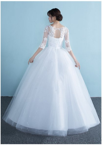 Wedding dress Spring 2019 New style shoulder sleeve bride with large size pregnant women's wedding dress show thin women